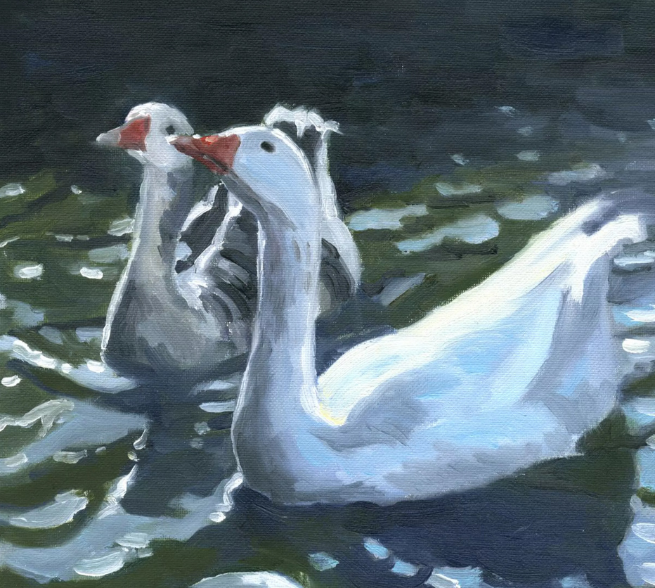 Double Trouble, Geese oil painting