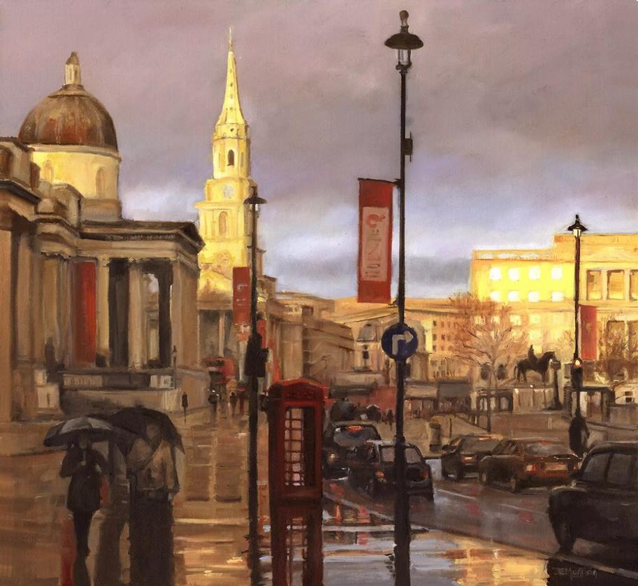 London in the Rain - National Portrait Gallery Trafalgar Square