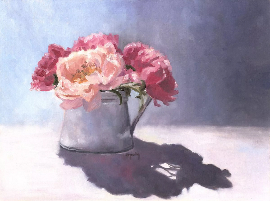 Peonies, flowers original oil painting
